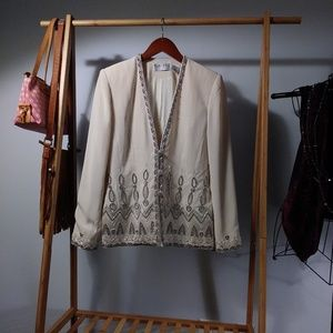 Black Tie Oleg Cassini Heart Beaded Cream Blazer S